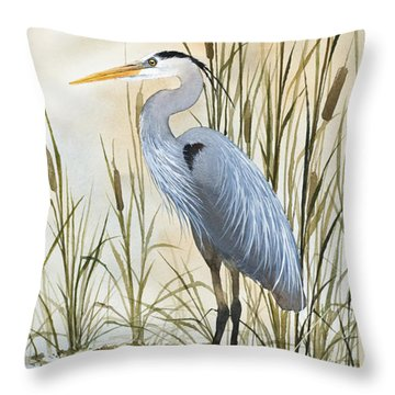 Heron And Cattails Throw Pillow by James Williamson