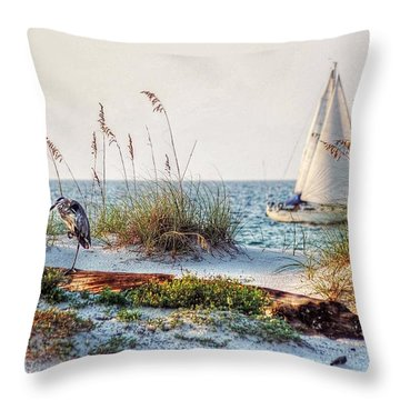 Heron And Sailboat Larger Sizes Throw Pillow by Michael Thomas