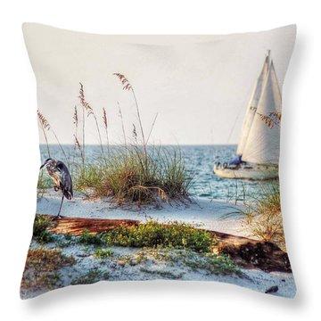 Heron And Sailboat Throw Pillow
