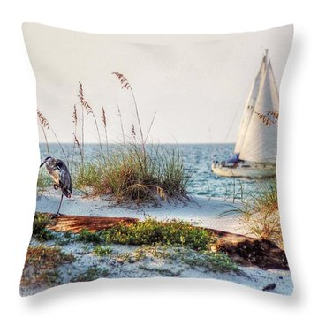 Heron And Sailboat Throw Pillow