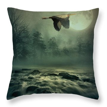 Heron By Moonlight Throw Pillow
