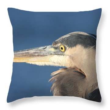 Throw Pillow featuring the photograph Heron Close-up by Christiane Schulze Art And Photography