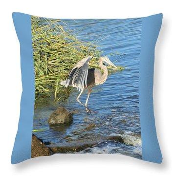 Heron Dance Throw Pillow by Karen Silvestri