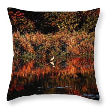 Heron Hideaway Throw Pillow