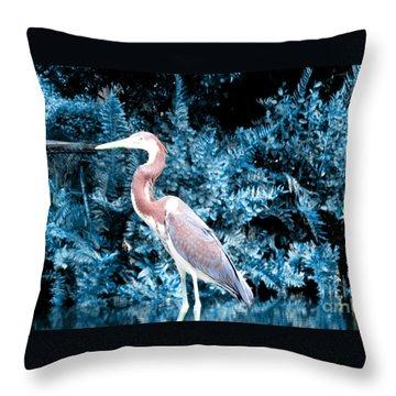 Heron In Blue Throw Pillow by Oksana Semenchenko