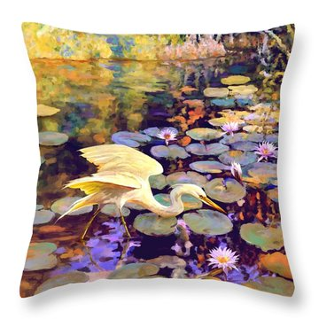 Heron In Lily Pond Throw Pillow