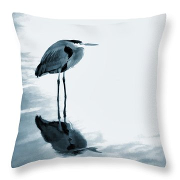Heron In The Shallows Throw Pillow by Carol Leigh