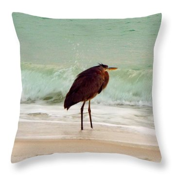 Heron In The Surf Throw Pillow