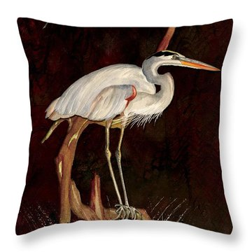 Throw Pillow featuring the painting Heron In Tree by Anne Beverley-Stamps
