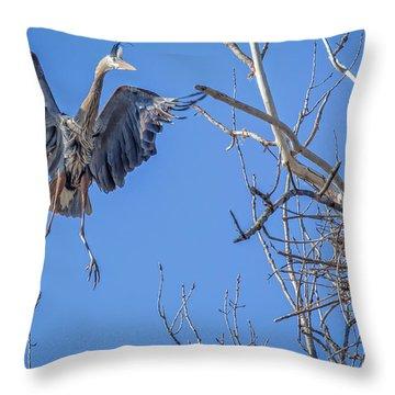 Heron Landing On Nest Throw Pillow