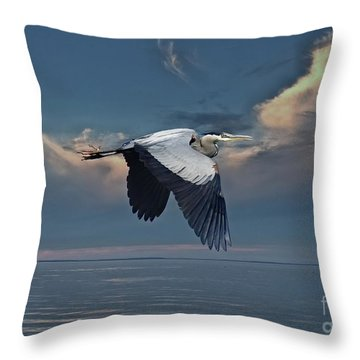 Heron Night Flight  Throw Pillow