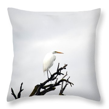 Heron On A Dead Tree Throw Pillow