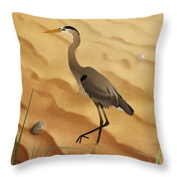 Heron On Golden Sands Throw Pillow