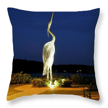 Heron On Mill Pond Throw Pillow