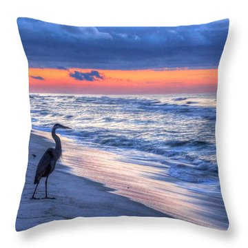 Heron On Mobile Beach Throw Pillow