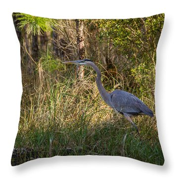 Heron On The Hunt Throw Pillow