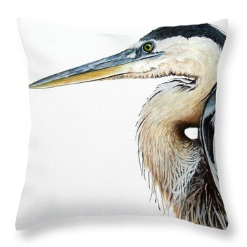 Heron Study Square Format Throw Pillow
