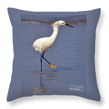 Throw Pillow featuring the photograph Heron Walking by Debby Pueschel
