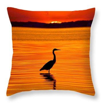 Heron With Burnt Sienna Sunset Throw Pillow