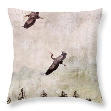 Throw Pillow featuring the photograph Herons In Flight Monotone by Peggy Collins