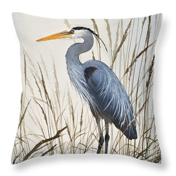 Herons Natural World Throw Pillow by James Williamson
