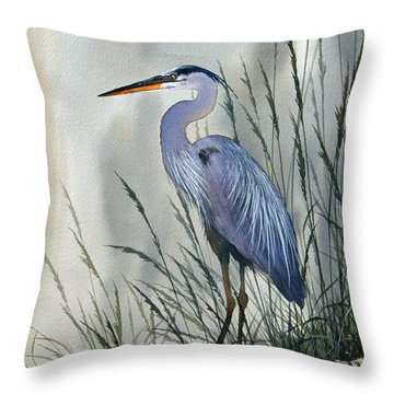 Herons Sheltered Retreat Throw Pillow by James Williamson