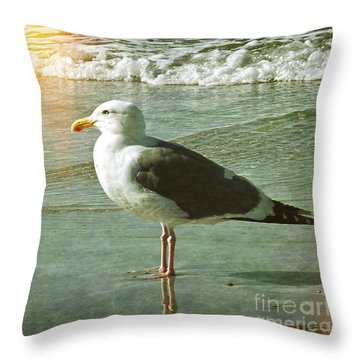Herring Gull Watching Throw Pillow