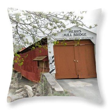 Herr's Mill Historic Bridge Throw Pillow