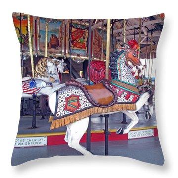 Herschell Spillman Armored Horse Throw Pillow