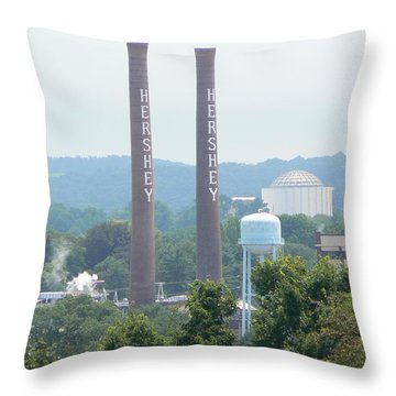 Throw Pillow featuring the photograph Hershey Smoke Stacks by Michael Porchik