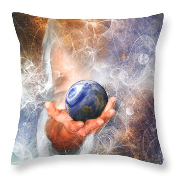 He's Got The Whole World In His Hand Throw Pillow