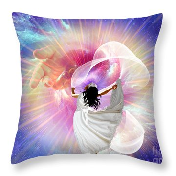 He's Here Throw Pillow by Dolores Develde