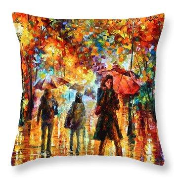 Hesitation Of The Rain Throw Pillow by Leonid Afremov