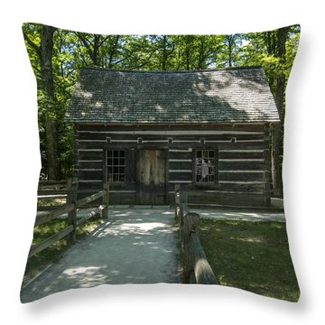 Hesler Log House #2 Throw Pillow by Paul Cannon