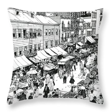 Throw Pillow featuring the drawing Hester Street by Ira Shander