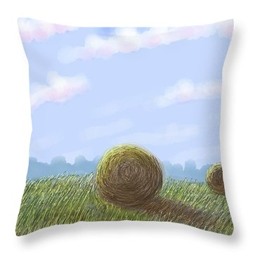 Hey I See Hay Throw Pillow by Stacy C Bottoms
