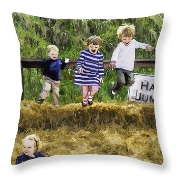 Hey Jump Throw Pillow by John Haldane