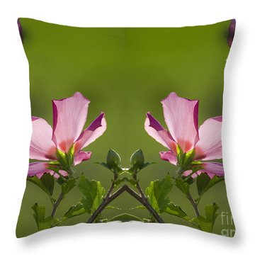 Hibiscus 07 Mirror Image Throw Pillow by Thomas Woolworth