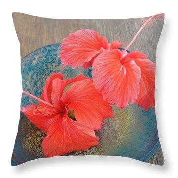 Hibiscus #4 Throw Pillow by Chikako Hashimoto Lichnowsky
