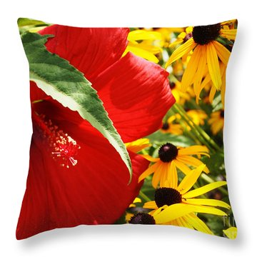 Hibiscus And Black Eyed Susans Throw Pillow