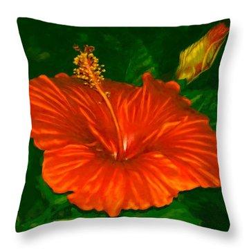 Hibiscus At Dusk Throw Pillow