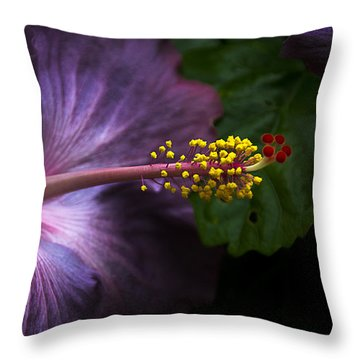Hibiscus Bloom In Lavender Throw Pillow