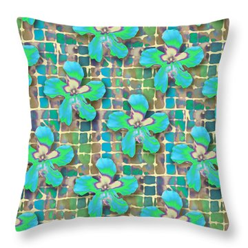 Hibiscus Blue Water Throw Pillow