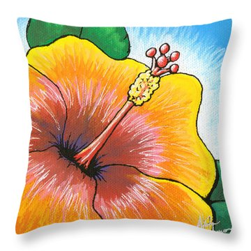 Hibiscus Number 2 Throw Pillow by Adam Johnson
