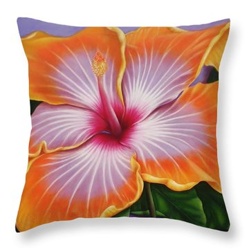 Throw Pillow featuring the painting Hibiscus by Paula L