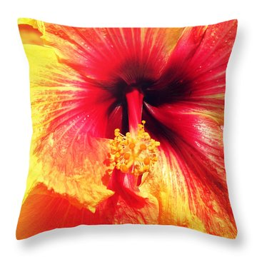 Hibiscus Photography Light Leaks Throw Pillow by Chris Andruskiewicz