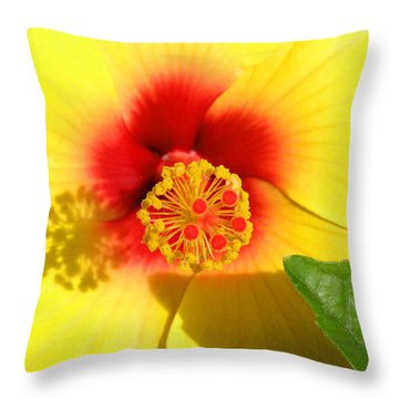 Hibiscus Shadows Throw Pillow