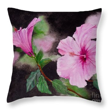 Throw Pillow featuring the painting Hibiscus - So Pretty In Pink by Sher Nasser