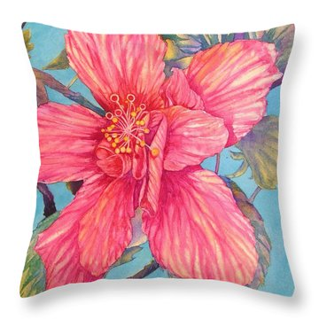 Hibiscus Stripes Throw Pillow