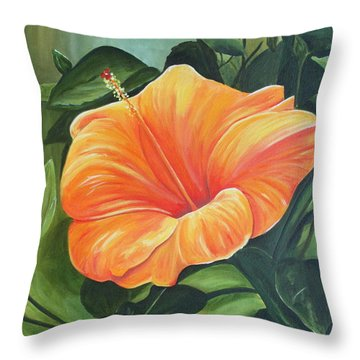 Hibiscus - Tangerine Throw Pillow by Lyndsey Hatchwell